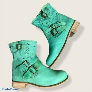 MTNG original Kelly Green moto leather boots